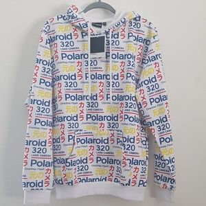 RARE! Polaroid japan logo hoodie with pocket Large